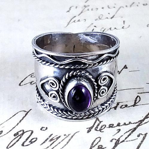 Amethyst Fancy Sterling Band Ring
