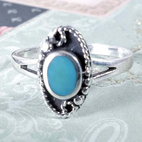 Blue Turquoise Sterling Ring