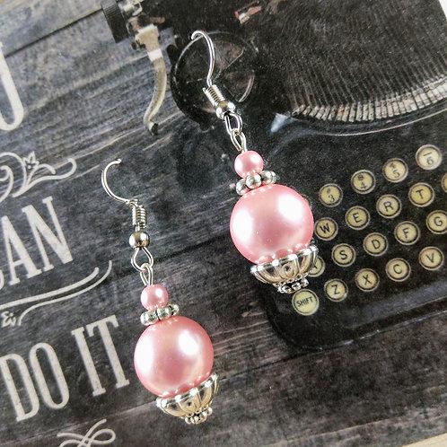 Deep Pink Pearl Silver Earrings