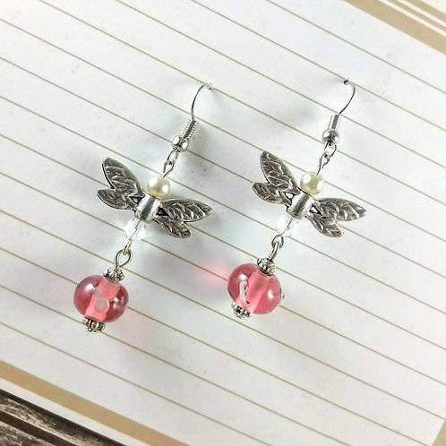 Pearl & Pink Dragonfly Silver Earrings