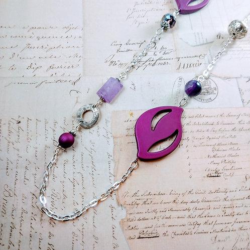 Purple Stone Silver Necklace