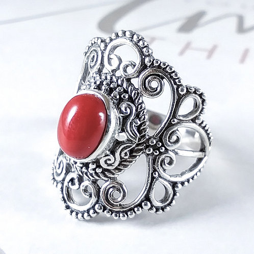Coral Sterling Ring