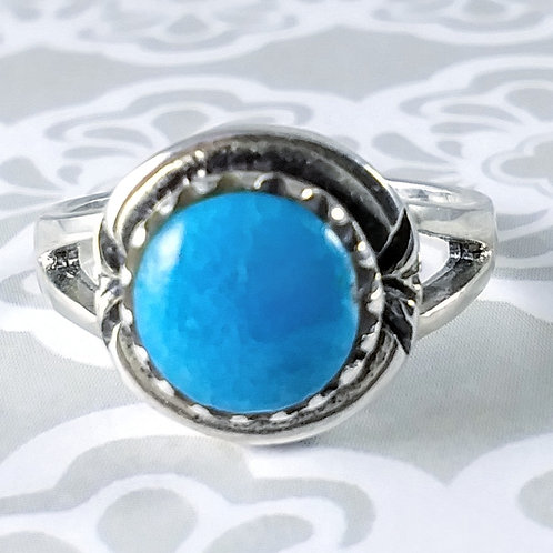 Bright Blue Turquoise Sterling Ring