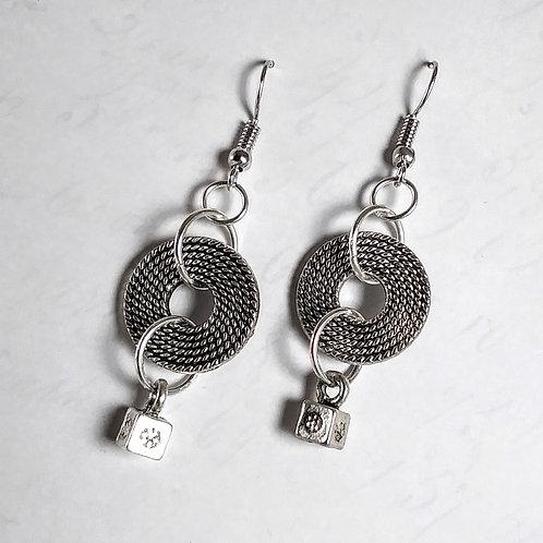 Rope Wheel Dangle Earrings