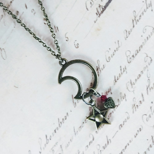 Bronze Moon and Star Necklace