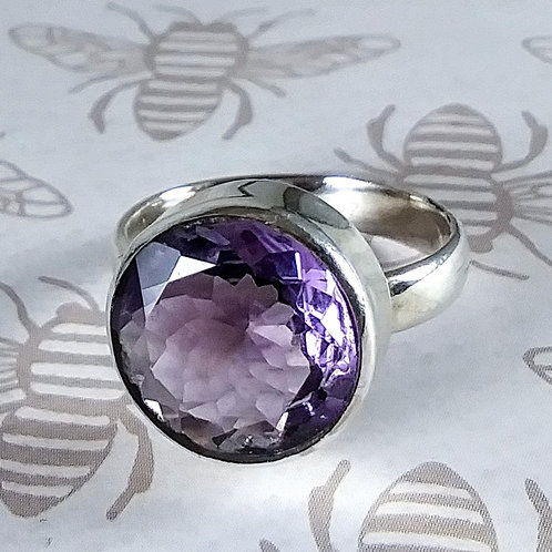 Faceted Amethyst Sterling Ring