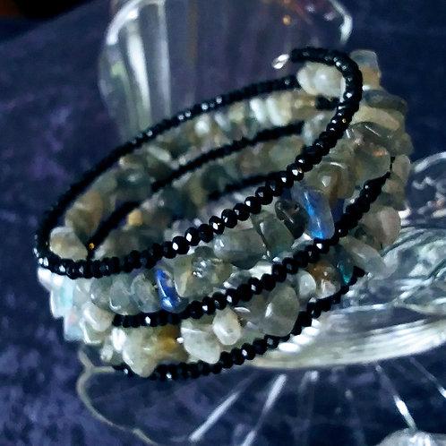 Labradorite & Black Crystal Coil Bracelet