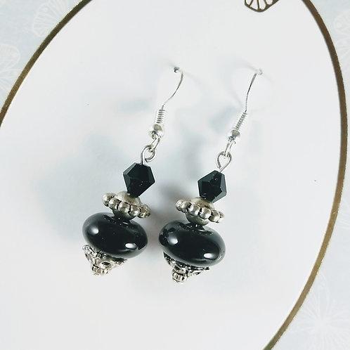 Black Agate & Crystal Silver Earrings