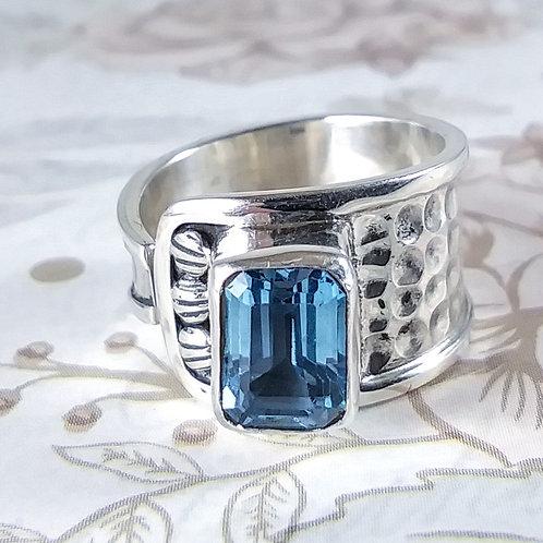 Emerald Blue Topaz Sterling Ring