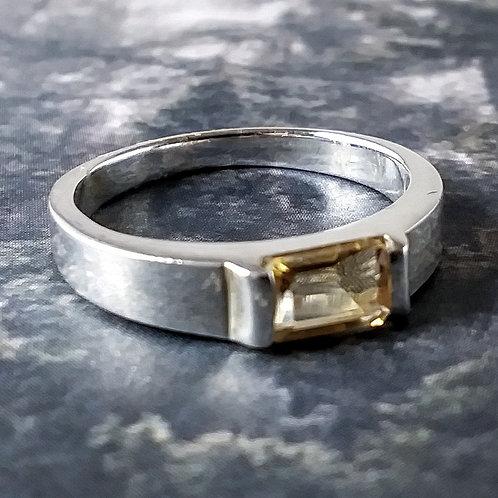 Emerald Citrine Sterling Ring