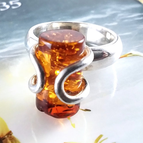 Funky Amber Sterling Ring
