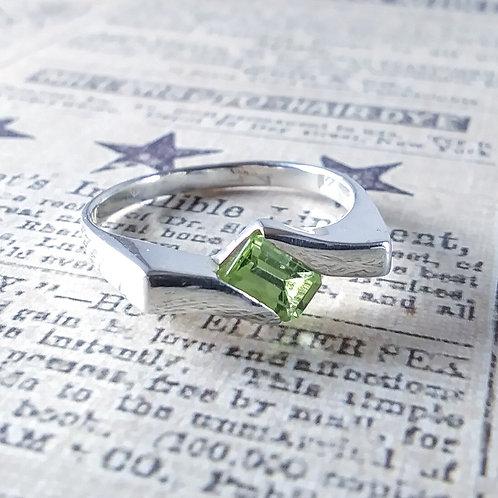 Diagonal Peridot Sterling Ring