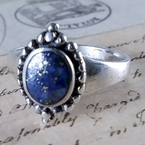 Oval Lapis Sterling Ring