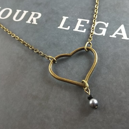Simple Floating Bronze Heart Necklace