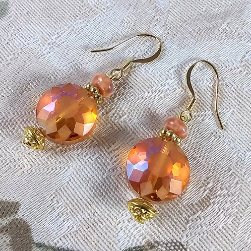 Tangerine Starburst Gold Earrings
