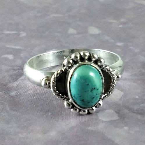 Blue Green Turquoise Sterling Ring