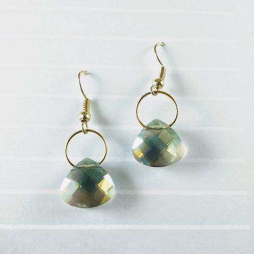 Green Crystal Teardrop Gold Earrings