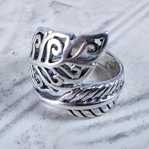 Fancy Leaf Sterling Ring