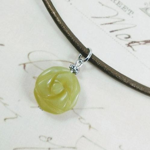 Carved Jade Aventurine Flower Leather Necklace