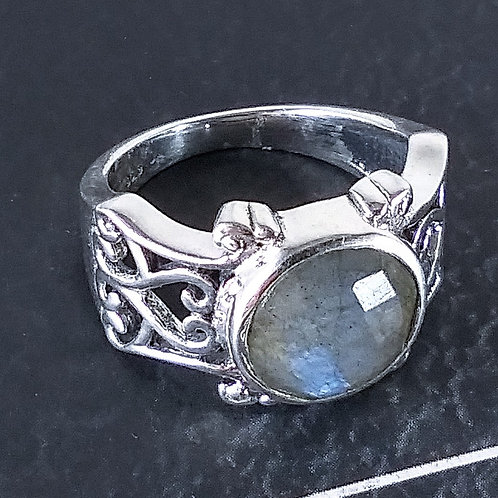 Faceted Labradorite Sterling Ring