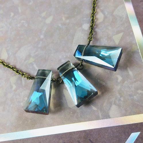 Blue Triple Crystal Bronze Necklace