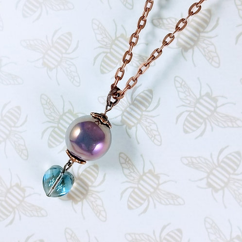 Lavender Orb Crystal Heart Copper Necklace