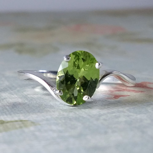 Oval Peridot Sterling Ring