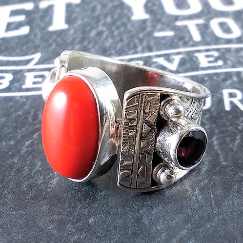 Red Coral and Garnet Sterling Ring