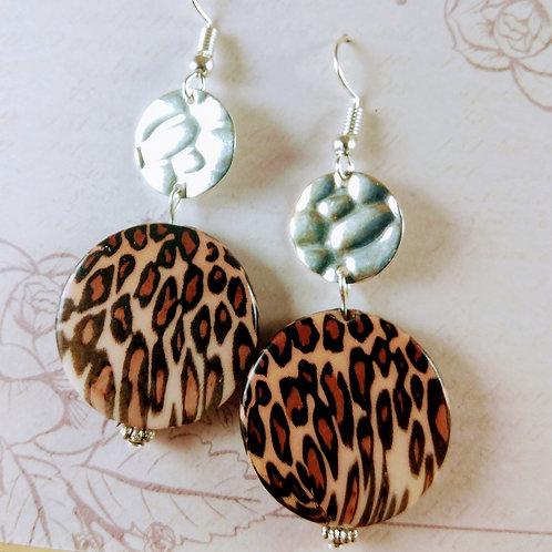 Silver &  Leppard Acrylic Earrings