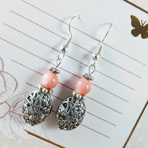 Peach Filligree Silver Earrings