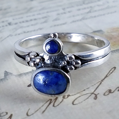 Double Lapis Sterling Ring