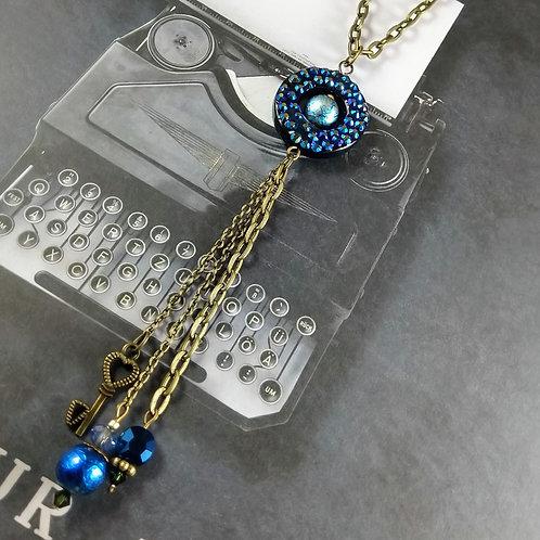 Bronze Blue Triple Necklace