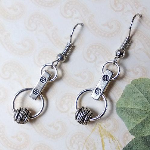 Silver Connector Dangle Earrings