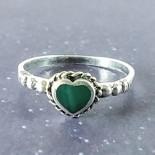 Malachite Heart Sterling Ring