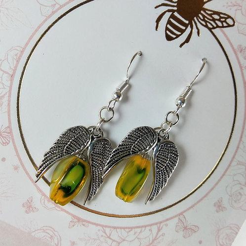 Camo Angel Wing Earrings