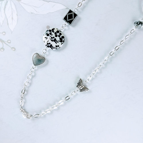 Black White Heart Butterfly Silver Necklace
