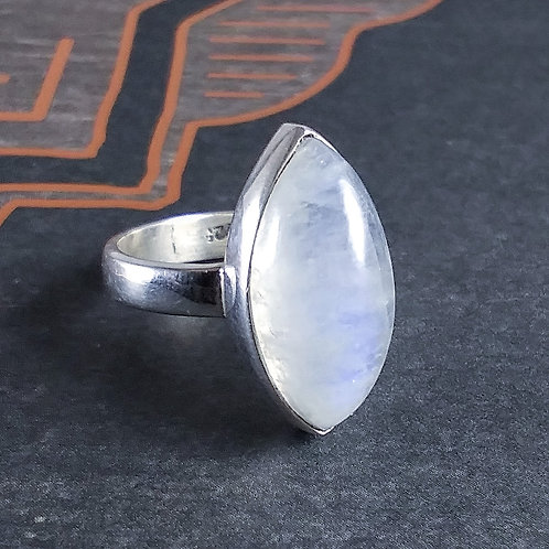 Blue Rainbow Moonstone Sterling Ring