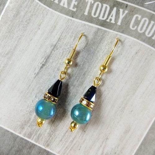 Gold, Green & Black Crystal Earrings