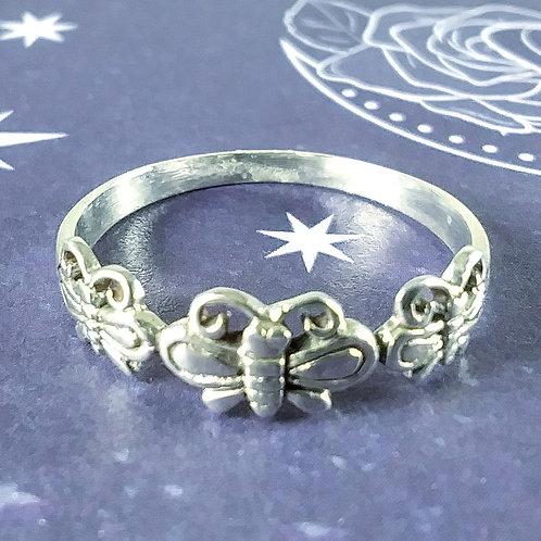 Triple Butterfly Sterling Ring