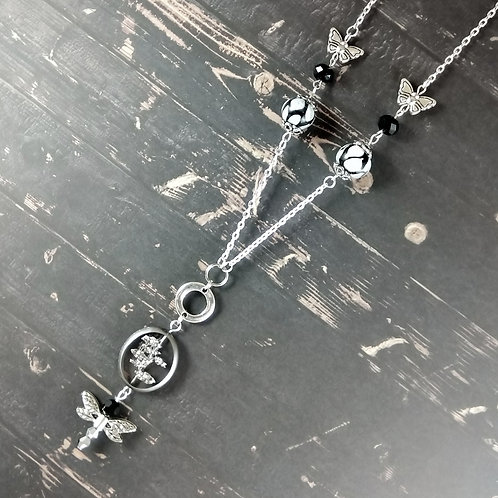 Black & White Butterfly Silver Necklace