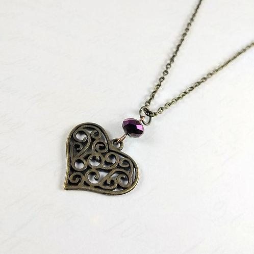 Swirl Heart Bronze Necklace