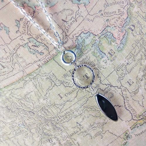 Triple Drop Black Silver Necklace