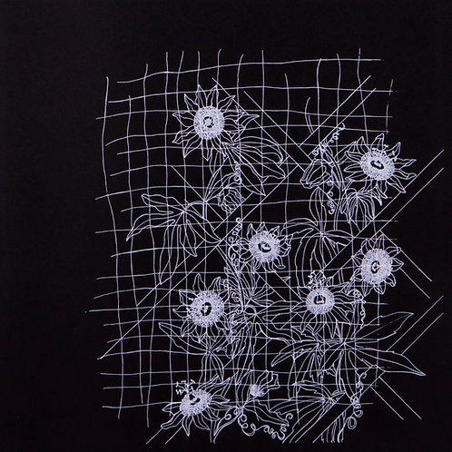 'Trellis and Passion Flower' Screenprint (White on Black)