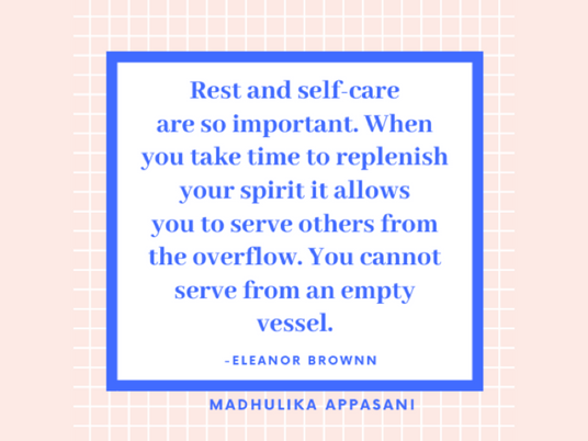 Rest and self-care are so important.