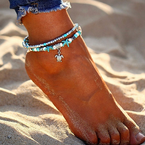 Turtle/Starfish Multi Layer Anklet