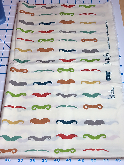 100% Organic Just for Fun Mustache Fabric