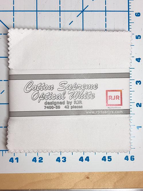 "Cotton Supreme Optical White 5"" Charm Pack"