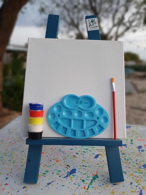 ערכה לצייר- כן ציור+קנווס+פלטה+5 צבעי אקריליק ומכחול