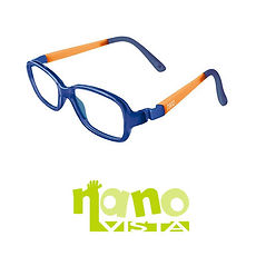 Nano vista logo and flexible blue and orange frame at Cranford Opticians, Hounslow