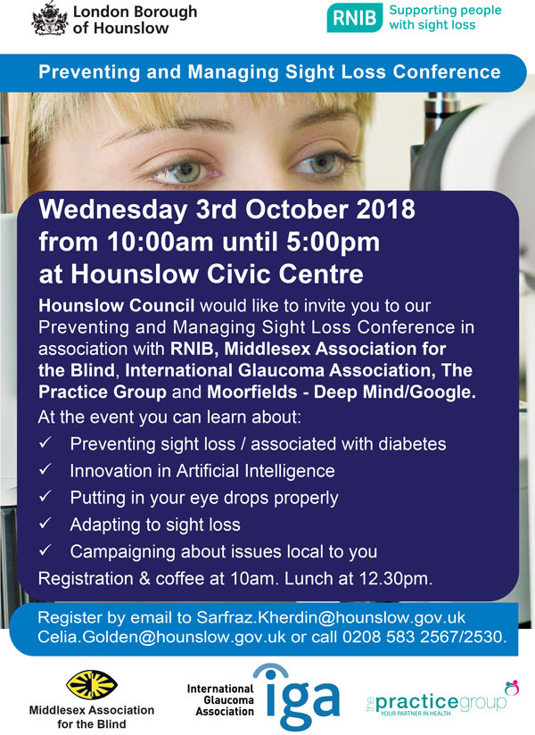 Poster for Preventing and Managing Sight Loss Conference in Hounslow, London on 3rd October 2018